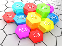 Nutrition elements. Abstract 3d illustration of nutrition minerals supplement vector illustration