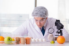 The nutrition expert testing food products in lab Stock Photography
