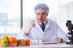 The nutrition expert testing food products in lab Stock Photo