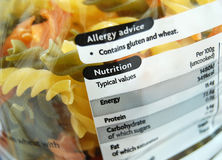 Nutrition facts. Nutrition information on a pasta pack Royalty Free Stock Image