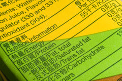 Nutrition facts. An image showing the nutrition facts on the paper label Royalty Free Stock Image