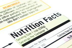 Nutrition facts. Close up of nutrition facts from a box Royalty Free Stock Photography