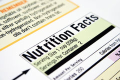 Nutrition facts. Close up of nutrition facts from a box Royalty Free Stock Images
