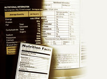 Nutrition facts. Nutrition information facts on assorted food labels Royalty Free Stock Photography