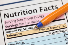 Nutrition facts Stock Photo