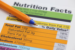 Nutrition facts. And ballpoint pen. Close-up royalty free stock image