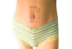 Nutrition facts on body  Stock Image