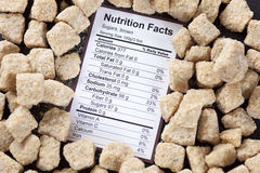 Nutrition facts of brown cane sugars Royalty Free Stock Images