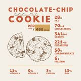 Nutrition facts of chocolate cookie, hand draw vector vector illustration