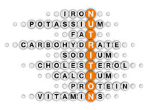 Nutrition facts crossword. Nutrition facts concept crossword puzzle Royalty Free Stock Image