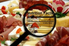 Nutrition facts on food. Close up of Nutrition facts on food Royalty Free Stock Photography
