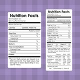 Nutrition facts food labels information healthy. Vector illustration Royalty Free Stock Photo