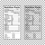 Nutrition Facts information. Information about the amount of fats, calories, carbohydrates. Vector stock illustration