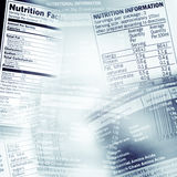 Nutrition facts. Nutrition information facts on assorted food labels Royalty Free Stock Images
