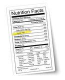 Nutrition facts label. Fat highlighted. Vector Stock Photos