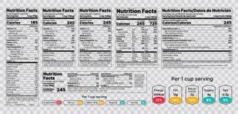 Nutrition facts Label. Vector illustration. Set of tables food information