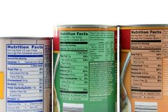 Nutrition Facts Labels. View of nutrition facts on the back of food cans Stock Image