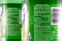 Nutrition facts on a  2 liter bottle of 7-up product Royalty Free Stock Photo
