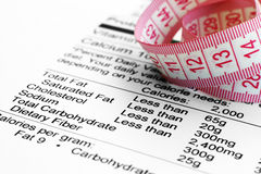 Nutrition facts and measure tape Royalty Free Stock Photo
