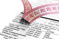 Nutrition facts and measure tape Stock Photo