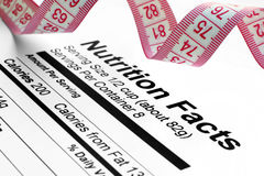 Nutrition facts and measure tape royalty free stock photography