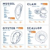 Nutrition facts of mussel, clam, oyster and scallop hand draw sketch vector stock illustration