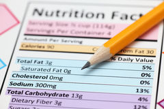 Nutrition facts. Nutrition facts with pencil. Close-up royalty free stock photos