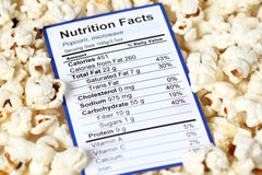 Nutrition facts of popcorn Stock Photography