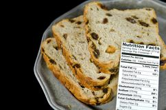 Nutrition facts on raisin bread Royalty Free Stock Photography
