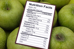 Nutrition facts of raw apples. With apples background stock photography