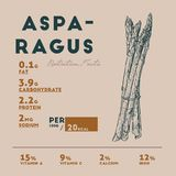 Nutrition facts of raw asparagus. stock illustration