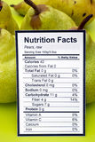 Nutrition facts of raw pears Stock Photography