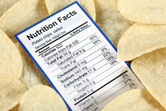 Nutrition facts of salted potato chips Stock Image