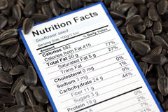 Nutrition facts of sunflower seed Stock Photography