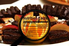 Nutrition facts on sweets Royalty Free Stock Images
