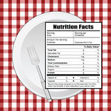 Nutrition facts on table illustration Stock Image