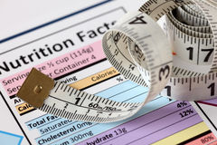 Nutrition facts with tape measure Stock Images