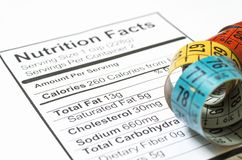 Nutrition facts stock images