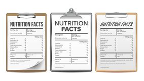 Nutrition Facts Vector. Blank, Template. Diet Calories List. For Box. Food Content. Fat Information. Protein Sport. Grams And Percent Guideline Calories vector illustration