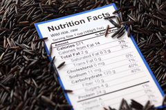 Nutrition facts of wild rice Royalty Free Stock Photo
