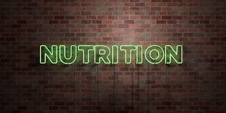 NUTRITION - fluorescent Neon tube Sign on brickwork - Front view - 3D rendered royalty free stock picture. Can be used for online banner ads and direct mailers vector illustration