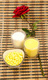 Nutrition food: milk,Corn juice and corn raw m Royalty Free Stock Photos