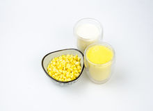 Nutrition food: milk,Corn juice and corn raw m Stock Photography