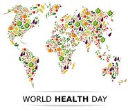 Nutrition food for healthy life, world health day. Concept. Cartoon world map Royalty Free Stock Image