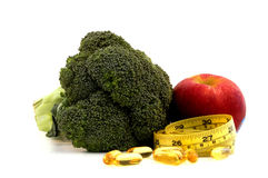 Nutrition food with tape measure Stock Photo