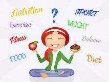 Nutrition. Funny illustration of girl nutrition concept Royalty Free Stock Photography