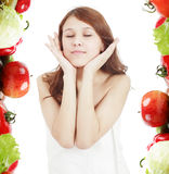 Nutrition girl. Portrait of a styled professional model. Theme: teens, beauty Stock Photos
