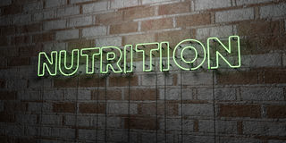 NUTRITION - Glowing Neon Sign on stonework wall - 3D rendered royalty free stock illustration. Can be used for online banner ads and direct mailers vector illustration