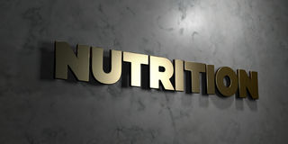 Nutrition - Gold sign mounted on glossy marble wall - 3D rendered royalty free stock illustration. This image can be used for an online website banner ad or a stock illustration