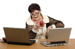 Nutrition health coach with red apple Stock Photography
